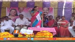 MP Kavitha Inaugurates Telangana Talli Statue at Kalleda village   iNews - INEWS