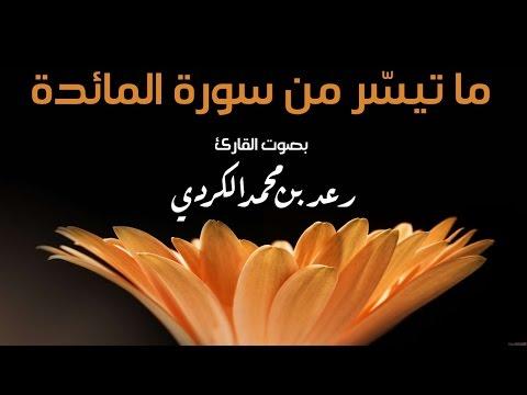 ما تيسر من سورة المائدة بصوت رعد بن محمد الكردي