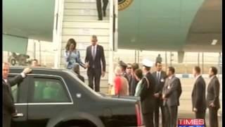 Narendra Modi greets Barack Obama and First lady - TIMESNOWONLINE