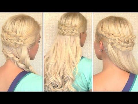 Bohemian half up half down hairstyle Everyday side swept braid Long hair tutorial 2013