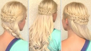 Bohemian half updo and side swept braid hairstyles for everyday and special occasions