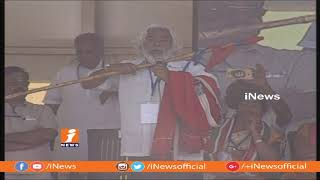 Gaddar Breathtaking Performance Before Rahul Gandhi | Tandur Mahakutami Bahiranga Sabha | iNews - INEWS