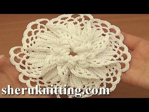 Crocheted Large Petal Flower Tutorial 101 Demo Version