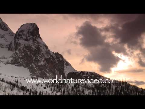 Winter mountain scenery sunset, Nature Video Stock Footage_0390