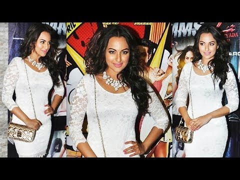 Busty Hot Sonakshi Sinha In Netted White Dress
