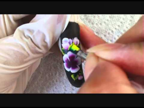 Nail art one stroke fleur simple - Allure d'ongles Toulouse