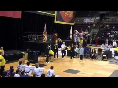 Hanmadang (U.S. Taekwondo open) June 2014 high jumping kick board breaking for first place.