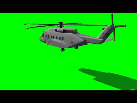 helicopter starts and flies away - green screen effects