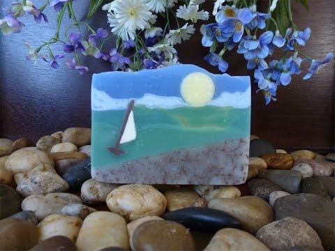 """Оригинальное мыло в подарок """"Морской пейзаж"""" ручной работы"""