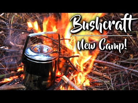 NEW BUSHCRAFT CAMP!! + Tinder Fungus Fire