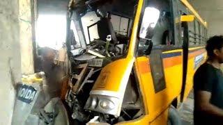 Noida: School bus loses control at Rajnigandha Chowk underpass, 12 students injured - TIMESOFINDIACHANNEL