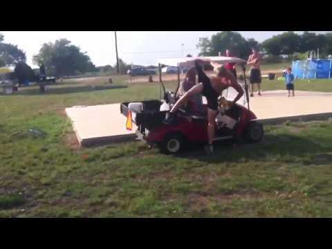 Jump over a golf cart