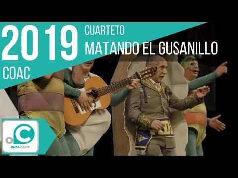 La agrupación Matando el gusanillo llega al COAC 2019 en la modalidad de Cuartetos. En años anteriores (2018) concursaron en el Teatro Falla como Misión Imposible: Los astromantas, consiguiendo una clasificación en el concurso de Preliminares.