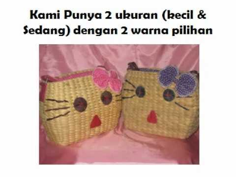 TAS HELLO KITTY - Tas eceng gondok hello kitty