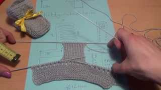 Схема вязания пинеток спицами - 2 шаг  // Scheme knitting bootees knitting needles - 2 step