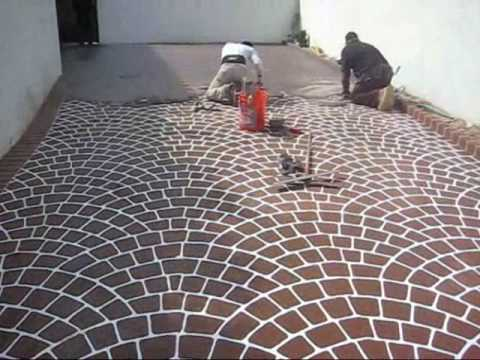 Concrete Overlay Made With European Fan Stencil Design. Beautiful and durable.