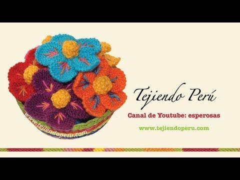 Cómo tejer una flor de Ayacucho, Perú, en dos agujas (ENGLISH SUBTITLES: Knitted peruvian flower)