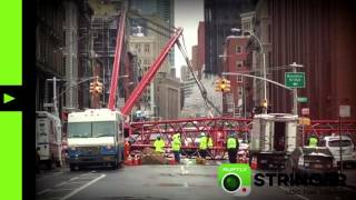 RAW: Massive crane collapsed in Manhattan crushing cars, pedestrians (via Ruptly stringer app) - RUSSIATODAY