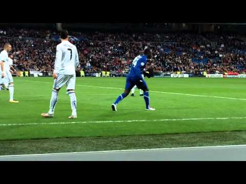 cristiano ronaldo filmed from the front row in the bernabue