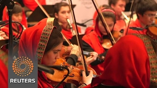 All-female Afghan orchestra practice Davos performance - REUTERSVIDEO