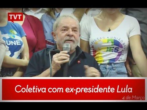 Coletiva do ex-presidente Lula no dia 4 de março de 2016