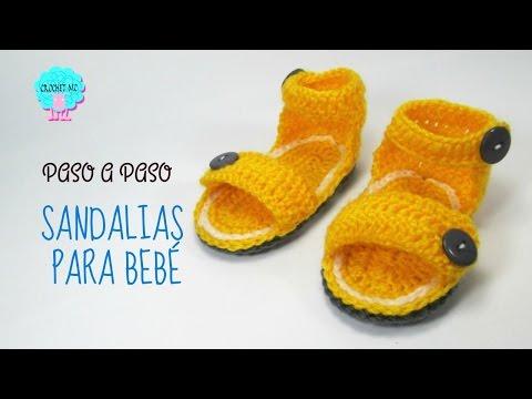 Tutorial Sandalias unisex para bebé a crochet/ todas las tallas