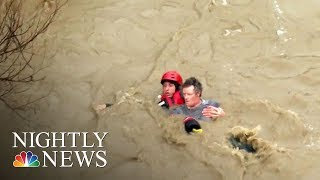 Powerful Storm Slams California Bringing Flooding, Rescues And Evacuations | NBC Nightly News - NBCNEWS