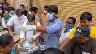 Hero Sundeep Kishan Distributed Food And Sanitizer To People - TFPC