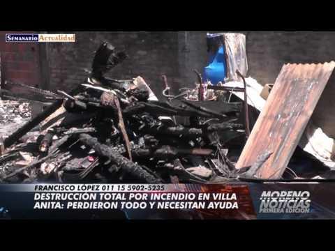 Destrucción total por incendio en Villa Anita: Perdieron todo y necesitan ayuda