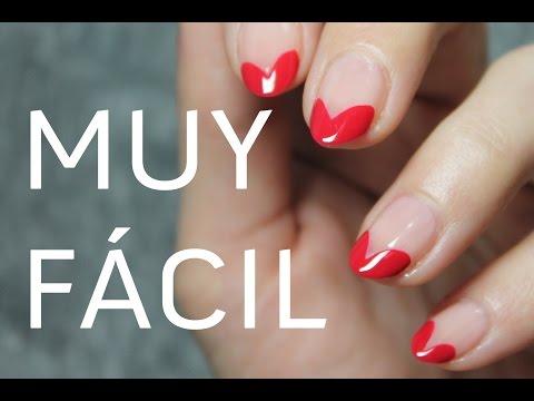 Manicura francesa con Corazones | MUY FÁCIL | Sin herramientas de nail art