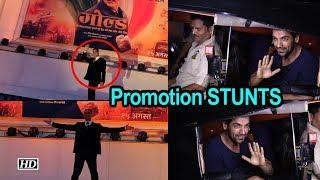 Promotion STUNTS: Akshay CLIMBS building, John travels in RICKSHAW - IANSLIVE