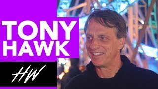 TONY HAWK  - Teaching us Roller Coaster Tricks! - HOLLYWIRETV