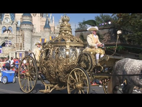 Cinderella's coach from upcoming Disney live-action film in pre-parade at Magic Kingdom