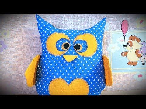 Подушка - игрушка Сова, своими руками, видео мастер класс