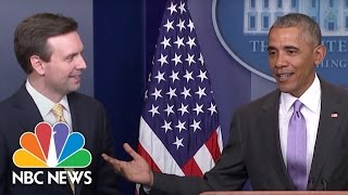 President Obama Surprises Josh Earnest at Last Press Briefing | NBC News - NBCNEWS