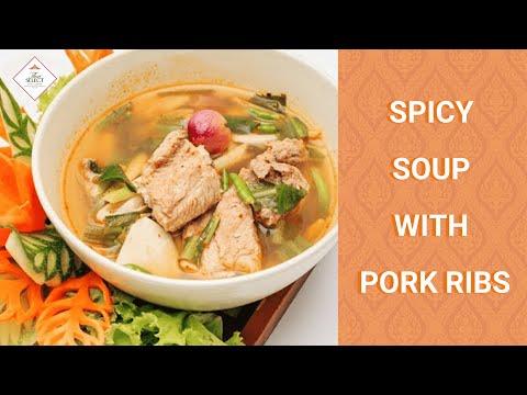 Spicy soup with pork ribs (ต้มแซบกระดูกอ่อน)