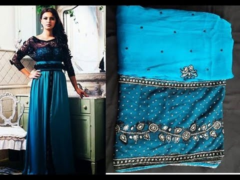 Vente tres beau Caftan Sari bleu avec broderies et perles mnebet tkil - MAROC