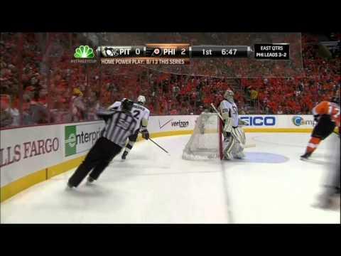 Scott Hartnell human torpedo goal. Pittsburgh Penguins vs Philadelphia Flyers 4/22/12 NHL Hockey
