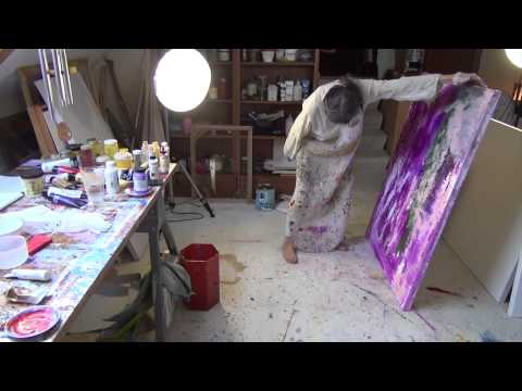 Abstract Acrylic Painting Demo - Liquid Number Two - Marlis painting in her studio