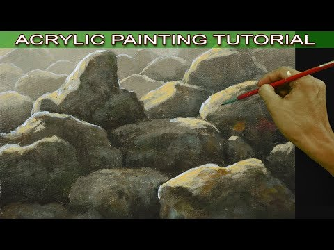 how to paint rocks with highlights and shadows