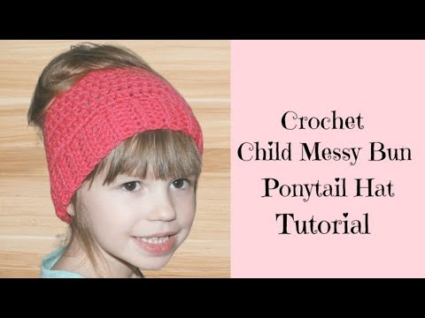 Crochet Child Messy Bun Ponytail Hat