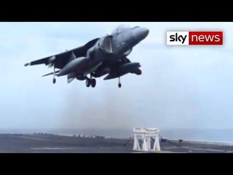US Navy Harrier Jet Lands On Stool amazing talent