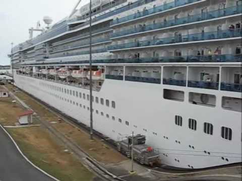A Canadian cruise ship going through the Miraflores Locks at the Panama Canal