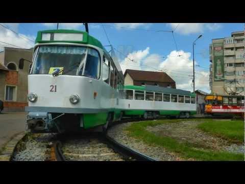 Tramvaiul Tatra T4D-M + B4D-M (#21 - 121) in terminus Nufarul (Oradea)