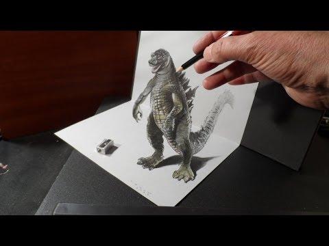 3D Drawing Godzilla, Trick Art, Time Lapse