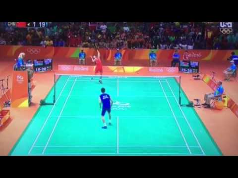 Match point saved in the badminton semifinals