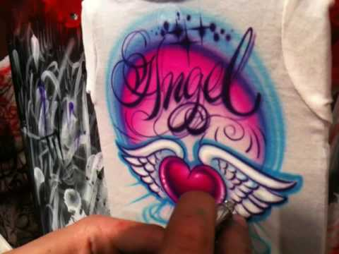 Crisp Lines...How to airbrush a  t shirt design with crisp clean lines  by Jaime Rodriguez