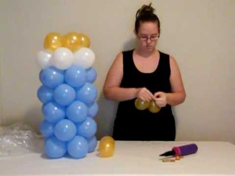 Videos how to make a balloon column videos for Baby bottle decoration ideas