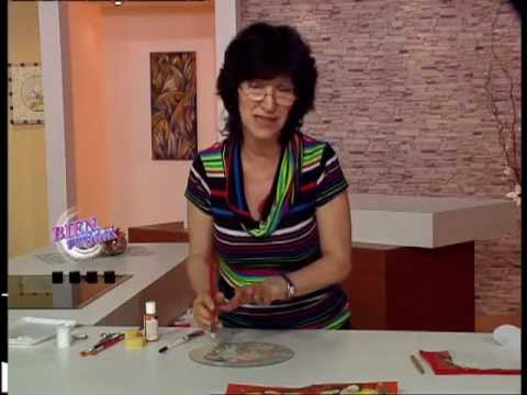 Mirta Biscardi - Bienvenidas TV - Papá Noel en Decoupage sobre Vidrio