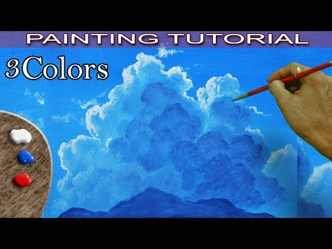 painting sky and clouds in acrylic